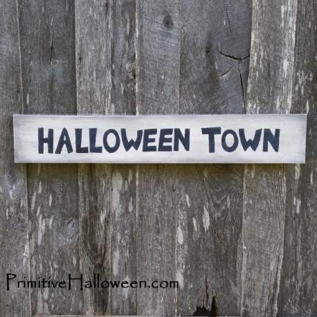 primitive folk art halloween town sign